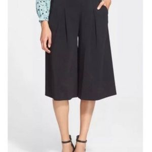 Rebecca Taylor Black Stretch Crepe Culotte Pants